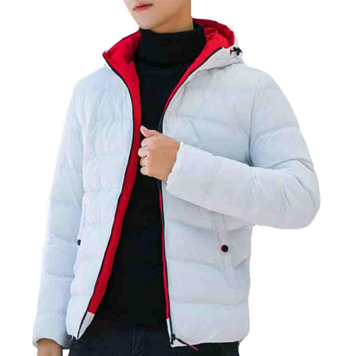 Rrive Mens Winter Plain Thicken Zipper Outwear Hooded Padded Quilted Casual Down Jacket