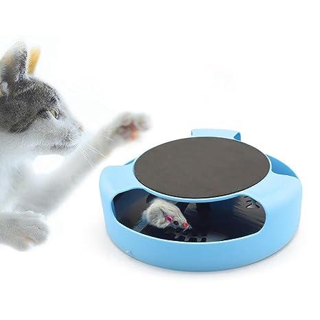 Leegoal Juguete para gato ratón interactivo, para atrapar el ratón y gatos con almohadilla para