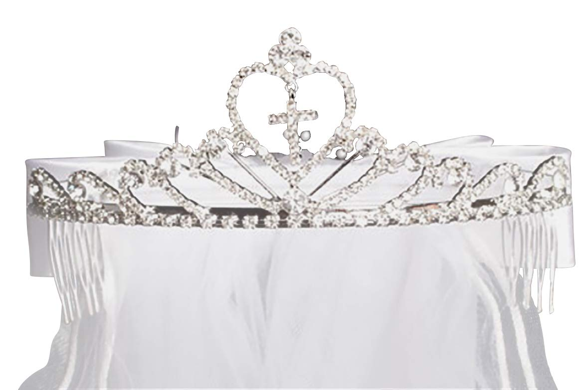 Cross & Heart Rhinestone Tiara w/ 24� White Communion Veil TL082 (One size fits most) by Swea Pea & Lili