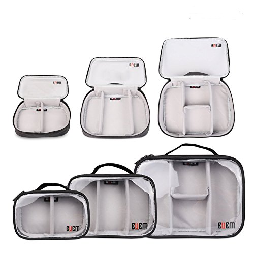BUBM Waterproof 3pcs/set Portable Electronic Accessories Travel Organizer Case,Black-Clear
