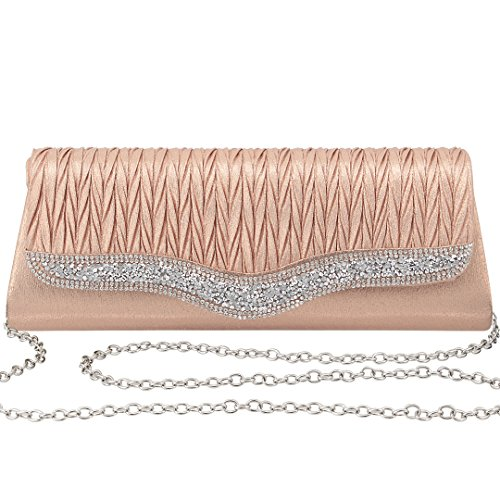 Gabrine Womens Evening Envelop Shoulder Bag Handbag Clutch Purse Pleated Rhinestone-Studded Satin for Wedding Party Prom(Champagne) by Gabrine