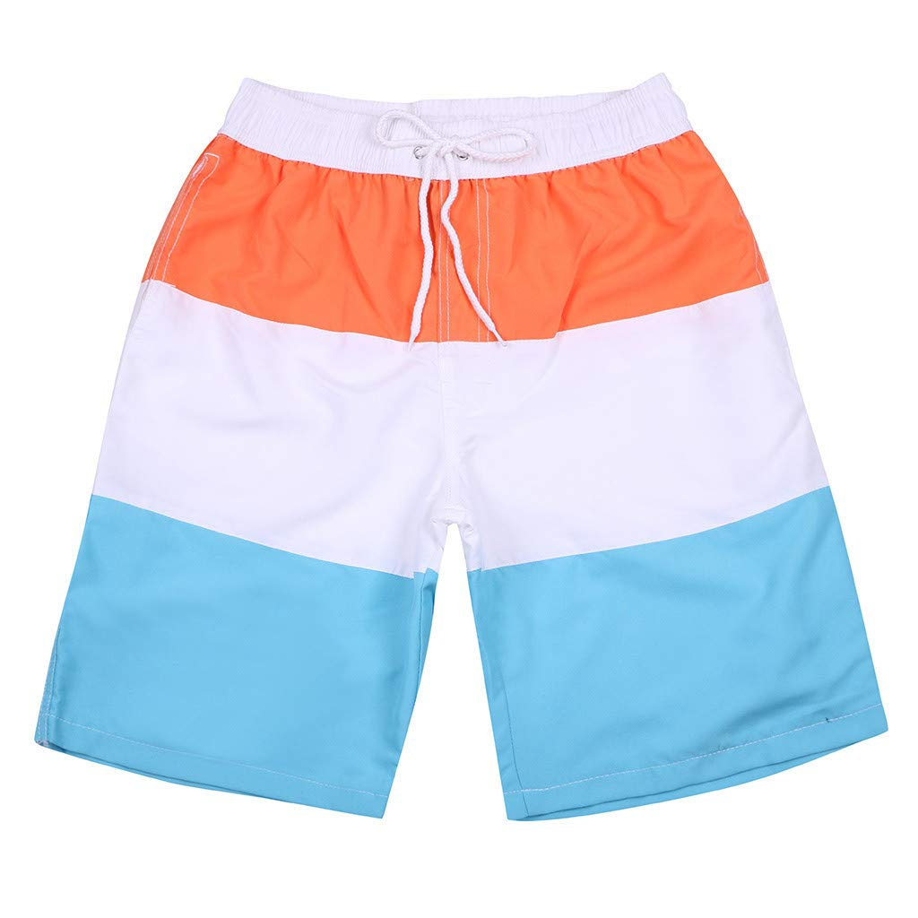 WUAI Mens Swim Trunks Casual Stripe Loose Fit Quick Dry Board Shorts Sportwear(Orange,US Size S = Tag M)