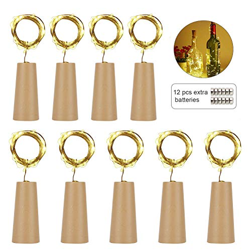 (Wine Bottle Lights - LED Cork Lights for Bottle 20 LEDs, Battery Powered - Copper Wire Starry String Lights for Bottle DIY, Party, Decoration, Wedding (Pack of 9, Warm White))