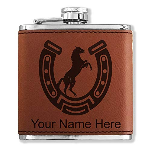 Faux Leather Flask, Horseshoe with Horse, Personalized Engraving Included (Dark Brown)