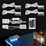RGB LED Glass Edge Lighting Kit: 4pcs RGB LED Glass Shelf Lights + RGB Controller + IR Remote + Power Adapter for Glass Shelf, Glass Cabinet, Countertop, Liquor Shelf, Book Shelf Decorative Lighting