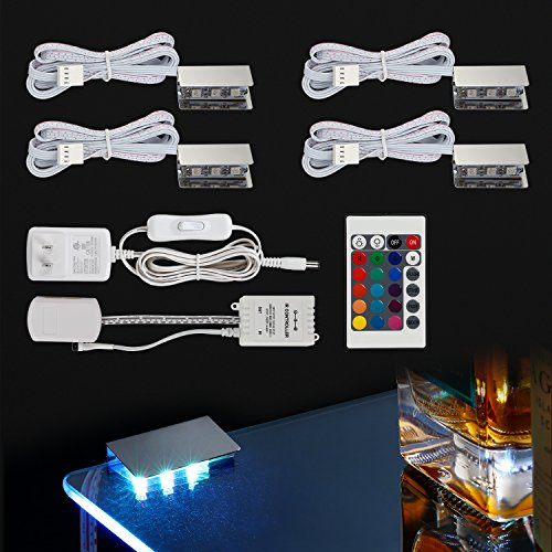 Glass Shelf Clip Kit - TORCHSTAR Multicolor LED Glass Edge Lighting Kit: 4pcs LED Glass Shelf Lights + Controller + IR Remote + UL Listed Power Adapter for Glass Shelf, Glass Cabinet, Countertop Decorative Lighting