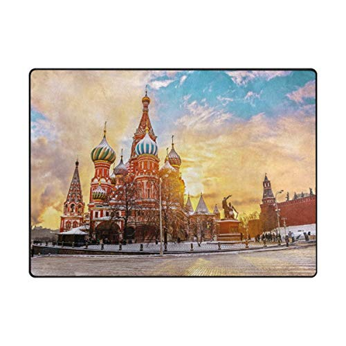Area Rug Carpet 5'x7' Saint Basil's Cathedral in Red Square Moscow Russia Sunset Winter Soft Non-Slip Runner Mat,Indoors/Bedroom/Living/Dining/Kitchen Floor Mats,8mm High Pile Height,Rectangular