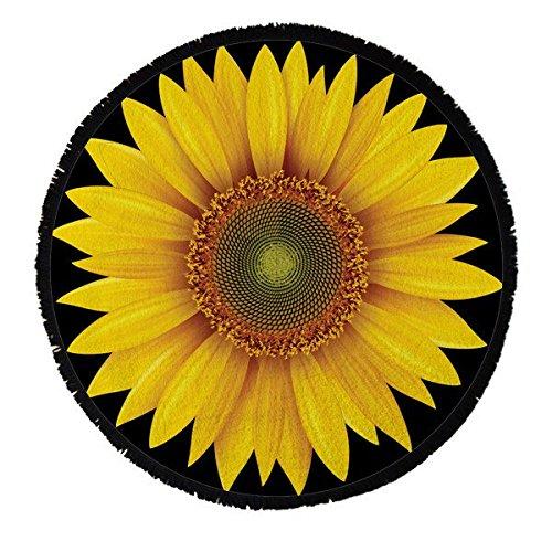 Round Towel Co. Sunflower Round Beach Towel 100% Cotton Roundie Mandala Flower Gypsy Beach Blanket Boho Terry Cloth Fringed Tassel Towel