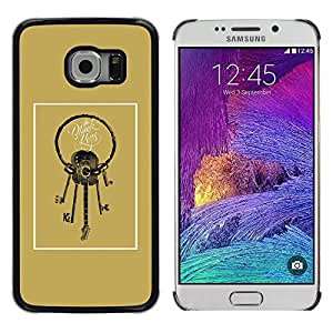Paccase / SLIM PC / Aliminium Casa Carcasa Funda Case Cover - Guitar Keys Meaning Golden Brown - Samsung Galaxy S6 EDGE SM-G925