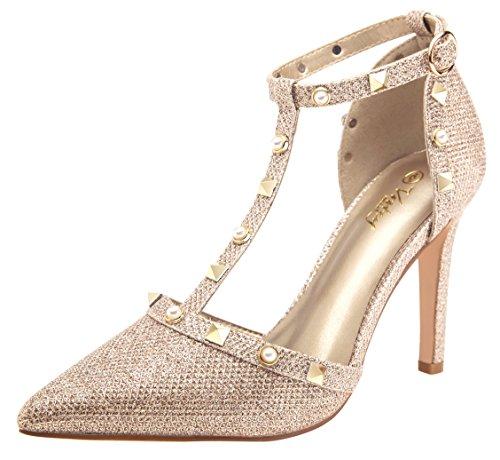 ivet High Heels T-Strap Pumps for Women (Gold Glitter 8.5) ()