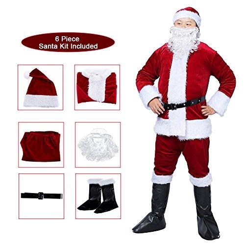 Suroomy Velvet Santa Suit Santa Claus Christmas Suit santa costume for men Wine Red Santa Costumes