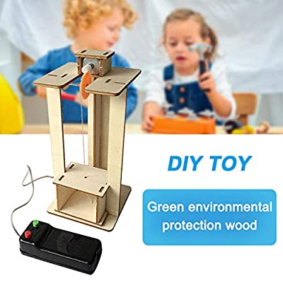 DIY Elevator Toy,Remote Control Physical Equipment Crane Lifts Elevator Model,Education Technology Small Production STEM Assembling Science Experiment Kit (Khaki): Home Improvement