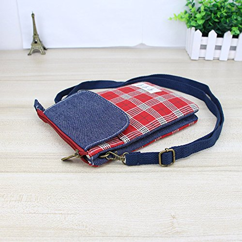 8 6S S9 Wallet XR iPhone Cellphone Note Galaxy X Red Shoulder 7 Women Pouch Bag 9 Crossbody Square 8 Xs for Plus S8 Purse CWFXq4wp6X
