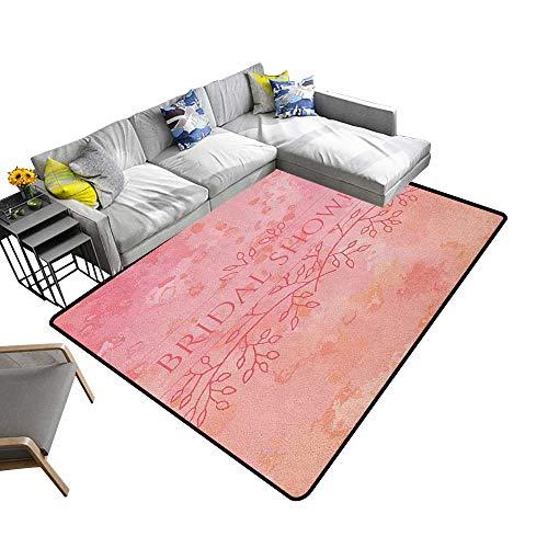 Bridal Shower Indoor Floor mat Bride Invitation Grunge Abstract Backdrop Floral Design Print 70