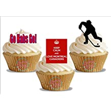 Ice Hockey Montreal Canadiens Trio Mix- Fun Novelty Birthday PREMIUM STAND UP Edible Wafer Card Cake Toppers Decoration