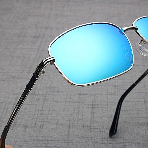 Azul Sol De De Hombres Vintage Plata Plazas Gafas TIANLIANG04 De Unas Silver Uv400 Regreso Negro Conducir Blue Enormes Para Marco Metal fIqFwvTg