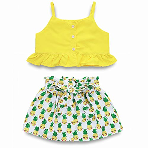 Toddler Baby Girl Ruffled Strap Tanks Tops+Hawaiian Luau Dress Pineapples Tutu Skirts Summer Clothes Set (Yellow, 6-12 Months)]()