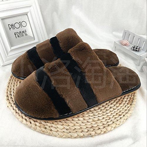 Pantofole di cotone spessa femmina autunno inverno bella piscina semplice antiscivolo, lussuosi di rimanere caldo pantofole uomini e ,46-47, marrone scuro 2251