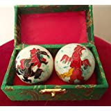 Chinese Health Balls with Chimes; with Dragon(Power & Phoenix(Happiness & Luck) Symbols; 3.5cm Diameter. Health Balls Stimulate Acupressure Points in the Hands. Balls come in a traditional chinese presentation box.