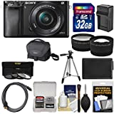 Sony Alpha A6000 Wi-Fi Digital Camera & 16-50mm Lens with 32GB Card + Case + Battery/Charger + Tripod + Tele/Wide Lens Kit