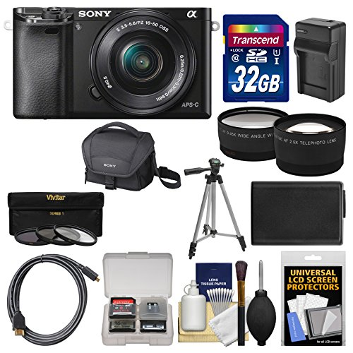 Sony Alpha A6000 Wi-Fi Digital Camera & 16-50mm Lens with 32GB Card + Case + Battery/Charger + Tripod + Tele/Wide Lens Kit (Sony Alpha A5100 Wi Fi Digital Camera)