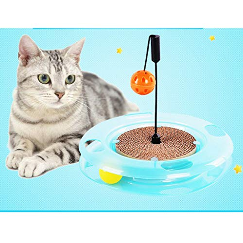 (Agordo Cat Kitten Corrugated Paper Scratching Board Track Ball Scratcher Toy )