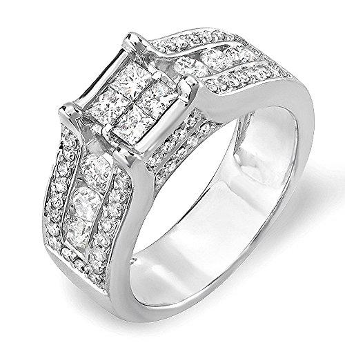 1.35 Carat (ctw) 14k White Gold Invisible Set Princess & Round Diamond Ladies Bridal Engagement Ring (size 7) (Set Diamond Invisible Bridal)
