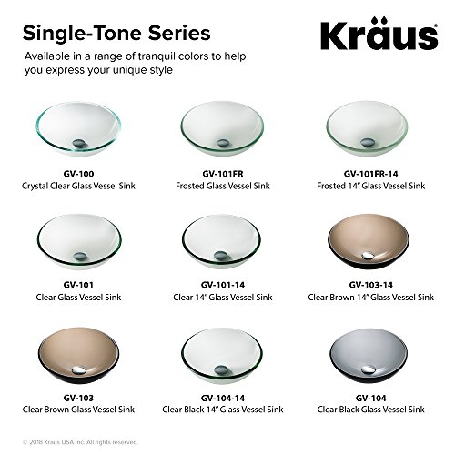 Kraus GV-103-14 Clear Brown 14 inch Glass Vessel Bathroom Sink by Kraus (Image #8)