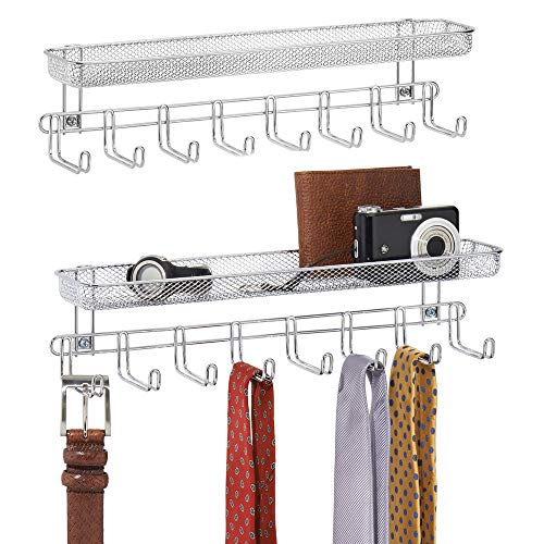 mDesign Closet Wall Mount Men's Accessory Storage Organizer Rack - Holds Belts, Neck Ties, Watches, Change, Sunglasses, Wallets - 8 Hooks and Basket - 2 Pack - Chrome