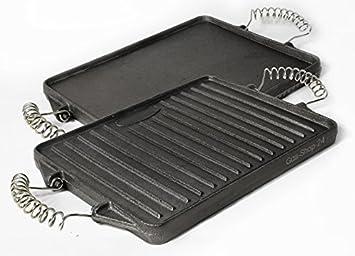21 x 27 cm plancha de hierro fundido con mangos de acero Muelle extraíbles (Adecuado para gas Barbacoa, Horno, cocina de gas, camping hervidor, ...