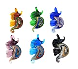 Lampwork Sea Horse Shape Gold Dust Glass Pendant Necklace Colorful Beads Jewelry Women 6PCS/Set