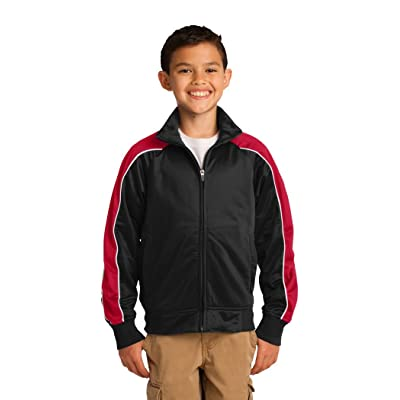 Sport Tek Youth Piped Tricot Track Jacket (Black/True Red/White)