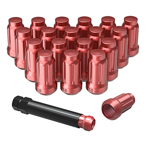 (YITAMOTOR Lug Nuts 12x1.5 Red, 6 Spline Bulge Acorn Wheel Lug Nuts 1.38
