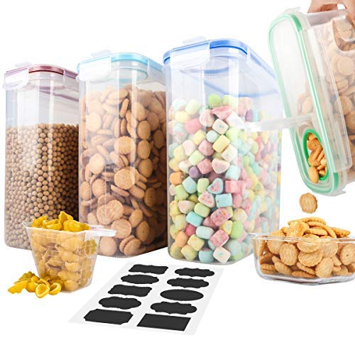 Cereal Containers,MCIRCO Upgraded Airtight Lids Cereal dispenser Food Storage Container Set of 4