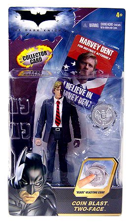 Batman Dark Knight Movie Action Figure Coin Blast Two-Face (With Collector Card!) (Two Dark Knight Face)