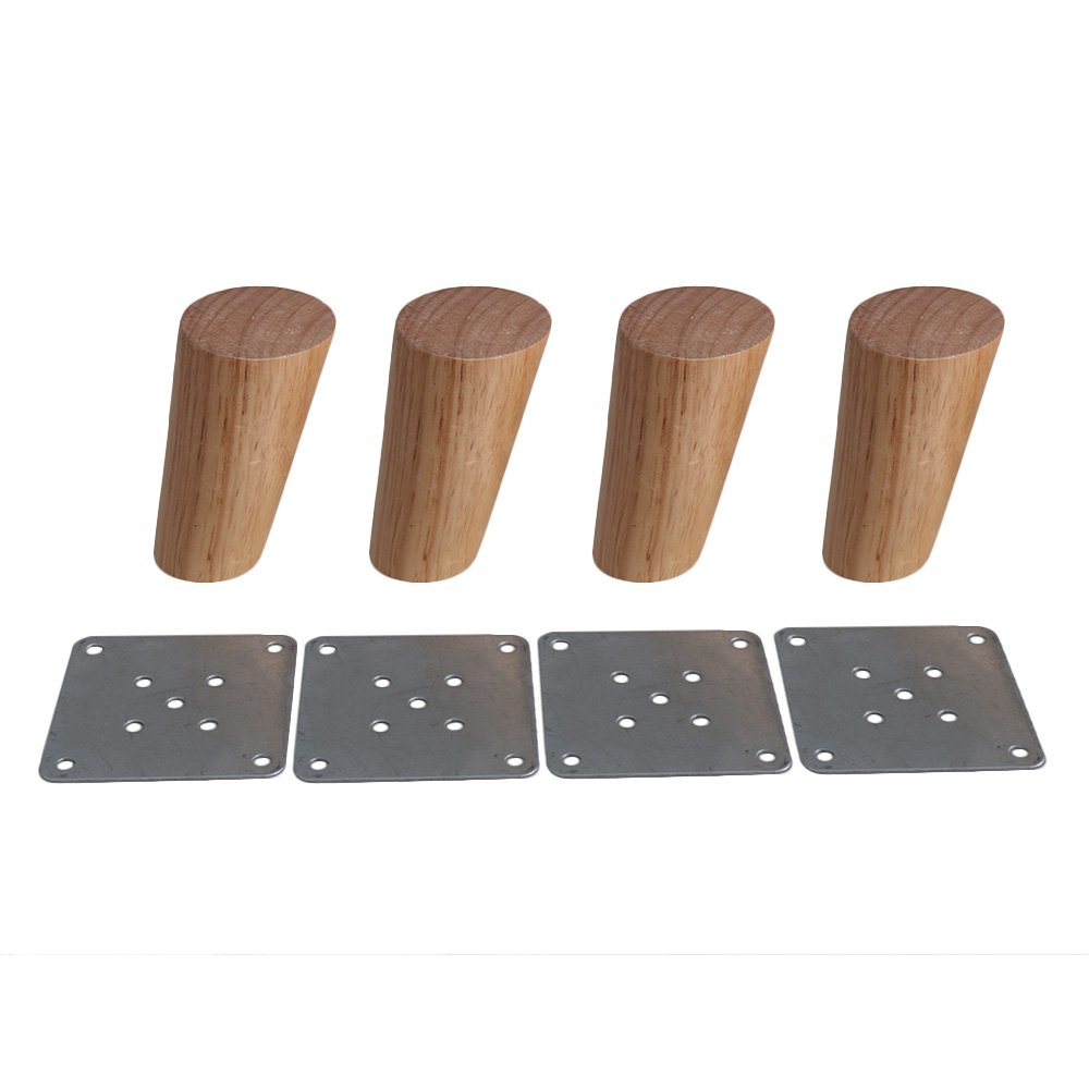 4pcs Wood Sofa Feet Oblique Tapered Wooden Furniture Legs Wood Color
