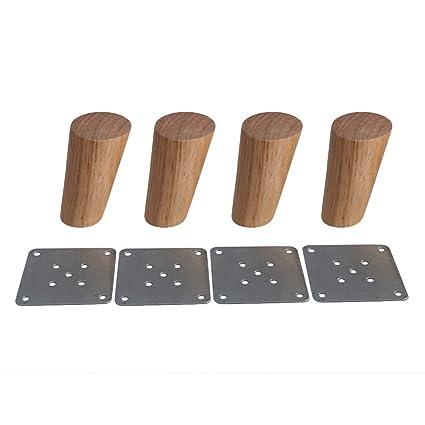 BQLZR - Juego de 4 patas para muebles de madera con plato de 10 cm de altura, color oscuro, cónicas y fiables