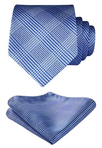 Blue Geometric Woven Silk Tie - HISDERN Check Geometric Tie Handkerchief Woven Wedding Classic Men's Necktie & Pocket Square Set Blue