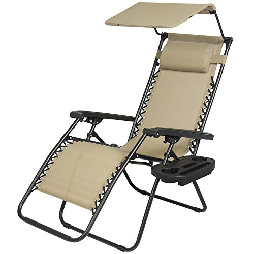 Cheap New Zero Gravity Chair Lounge Patio Chairs with canopy Cup Holder