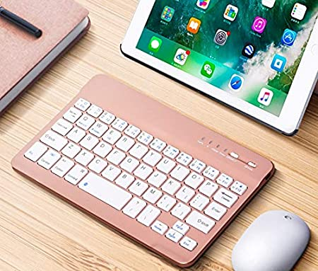 RONSHIN Electronics Slim Portable Mini Wireless Bluetooth Keyboard for Tablet Laptop Smartphone iPad 7//8 inch Black