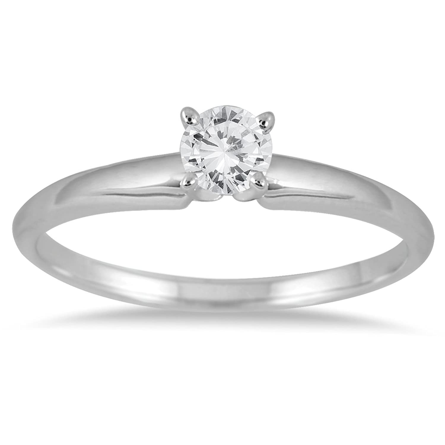 10 Carat Round Diamond Solitaire Ring In 14k White Gold: Engagement  Rings: Jewelry