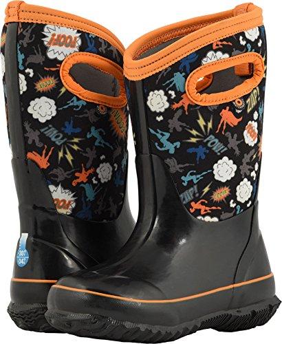 Bogs Unisex-Kids Classic Printed Neo-Tech Snow Boot, Super Hero Black/Multi, 4 Medium US Big (Children Black Superhero Boot)