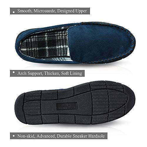 Men's LA Navy Outdoor Hardsole Slippers Moccasin Indoor PLAGE Anti with Microsuede Slip q7Tn7FwC