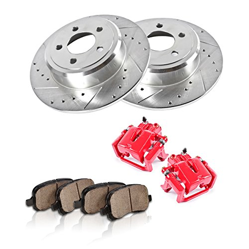 CCK12570 REAR Powder Coated Red [2] Calipers + [2] 5 Lug Rotors + Quiet Low Dust [4] Ceramic Pads Performance Kit