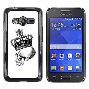 Shell-Star Arte & diseño plástico duro Fundas Cover Cubre Hard Case Cover para Samsung Galaxy Ace4 / Galaxy Ace 4 LTE / SM-G313F ( Crown Skull White Black Bling King )