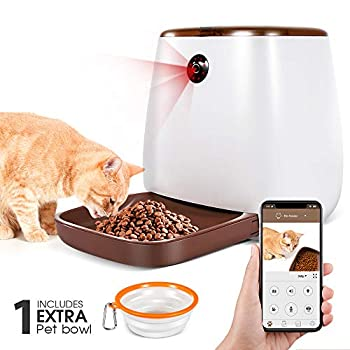 Image of Pet Supplies Automatic Pet Feeder 3.3L Smart Dog Cat Dispenser with 1 Extra Pet Bowl, Timer Programmable HD Camera for Voice and Video, iPhone and Android Compatible