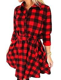 YACUN Women's 3/4 Sleeve Long Plaid Shirt Checkered Cocktail Dress