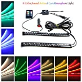 ZIUMIER Multi-Color LED Car Interior Light,4 Tube 72LEDs,Car Atmosphere Lamp Underdash Underglow Neon Decoration Strip Lighting Kit,Sound Active Wireless Remote Control,Car Charger Included