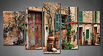 5 Panel Wall Art Streets of Old Mediterranean Towns Flower Door Windows Painting The Picture Print On Canvas Architecture Pictures for Home Decor Decoration Gift Piece