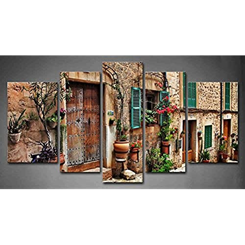 5 Panel Wall Art Streets Of Old Mediterranean Towns Flower Door Windows  Painting The Picture Print On Canvas Architecture Pictures For Home Decor  Decoration ...